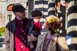 Joel Dyke, Michelle Davis, and Joseph at the 2014 KC Tweed Ride