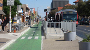 Protected bike lane with bus stop in Austin, TX