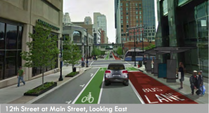Concept for a left-side bike lane and right-side bus lane in downtown KCMO