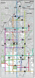"Map of Overland Park's ""City Network"" bicycle corridors."