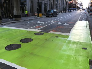 Brand new bike box at 11th and Main in downtown KCMO  Image Credit: David Johnson